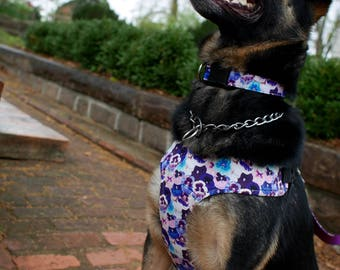 Pansies Floral Dog Harness, Available in Two Styles for Large and Small Dogs; Handcrafted by Nerdy Pug Studios in Atlanta, Georgia