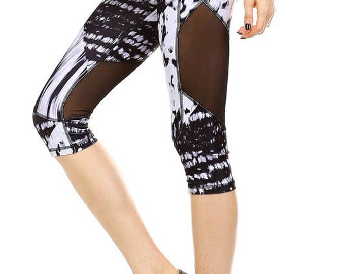 Featured listing image: Knee Length Mesh Leggings - Blk/White