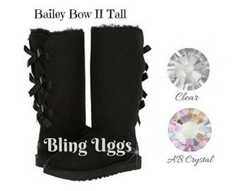 BLING UGG Boots - Custom Bling - Bailey Bow II Tall - Winter Boots - Crystals - Bling - All Sizes - Black Bailey Bow