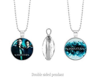 Dean and Sam Winchester Two Sided Pendant Supernatural Double Sided Pendant Supernatural Chain Fandom Jewelry