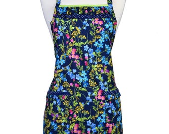 Womens Ruffled Apron Cute Navy and Lime Green Floral  Retro Traditional with Large Pockets and Adjustable Neck Ties