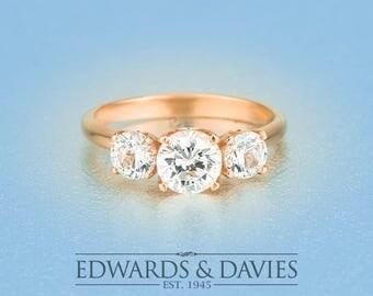 0.75ct Center Rose Gold Engagement | Three Stone Moissanite Engagement Ring | Forever Brilliant Moissanite | Rose Gold Diamond Ring