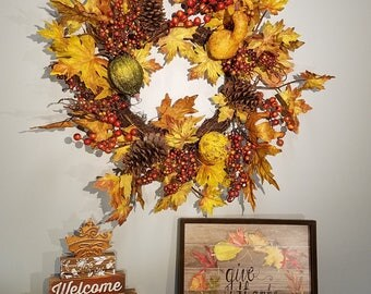 "ESE Fall Harvest Thanksgiving Vintage Ground & Maple Leaves Wreaths,  24"""