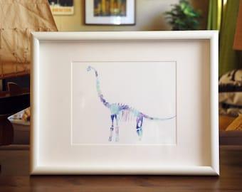 Brachiosaurus Watercolor Print - 5x7 - Fine Art Fossils