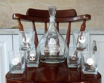 Star Wars Whiskey Decanter Groomsmen Gift Wedding Set Whiskey Glasses Decanter Valentines gift Mens gift Father day Boyfriend Best Man Gift