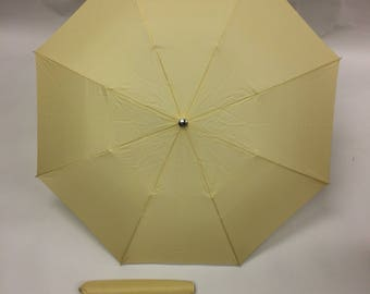 Vintage 50's Khaki Umbrella with Silver Hardware New with Tags New Old Stock Movie Prop Everyday Accessories Bumbershoot Tan Cream Birthday