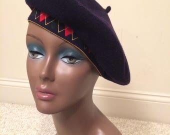 Vintage Navy Beret with Plaid Elastic | 1980-1990 New Vintage Liz Claiborne | Dead Stock | Preppy | French Fashion | 90's Fashion | Clueless
