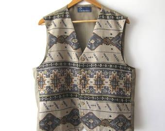 Vintage Gentleman's Vest Patterned Tribal Mens Vest Fitted Waistcoat Mens Classic Vest Size Medium to Large