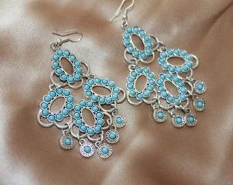 Turquoise blue dangle chandelier silver bigs earrings