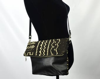 Black clutch bag, Black Leather Crossbody, Mudcloth bag, Bogolan Bag, Leather Crossbody