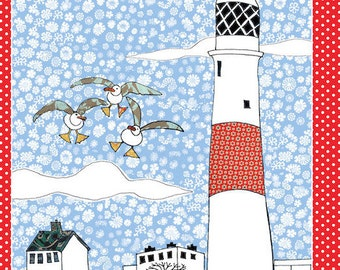 Beach Tea towel.  This kitchen towel with lighthouse is a cotton dish towel and is a printed dishcloth. Coastal home from MollyMac.