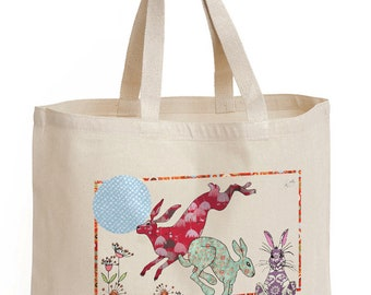 Shopping bag Hare Design Shopper, tote, strong bag, shoulder bag, cotton canvas bag. recyclable bag, No plastic.
