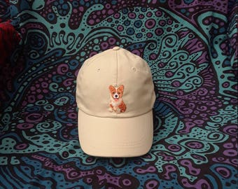 Embroidered Corgi Patch Baseball Cap - Hat - Beige