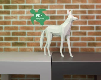 DIY Maned wolf lowpoly papercraft PDF template