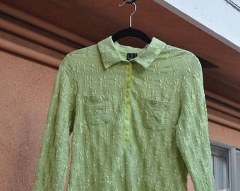 Lime Green Textured Daisy Top