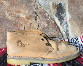 Vintage 1990s Panama Jack Camel Suede Leather Desert Boots size 39 o 8 1/2