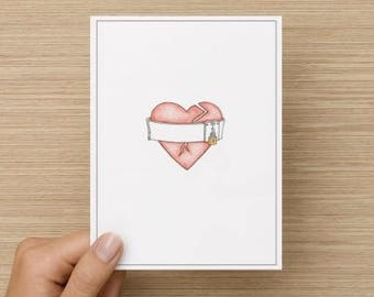 Locked Heart Notecard and Envelope from an original pencil drawing, blank card