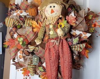 Fall Scarecrow Wreath, Fall Decor, Front Door Wreath, Seasonal Decor
