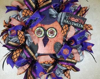 Halloween Owl Wreath, Halloween Wreath, Owl Wreath, Halloween Decor, Front Door Wreath