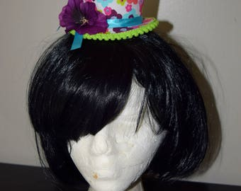 Mini top hat, mad hatter tea party, Alice in wonderland hat, bridal shower