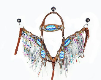 Hand Beaded Fringe Leather Headstall Western Horse Bridle Mermaid Fringe Breast Collar Plate Show Tack Set