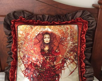 Sun Goddess / Fire Girl , Hand Embroidered with Beads Pillow ,Double Ruffled, Multicolored(Red,Yellow,Brown,Gold,Sunshine,Solar Power,Light)