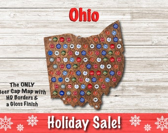 Ohio Beer Cap Map | With Standoffs | State Beer Cap Map | Bottle Cap Map | Gifts For Him | Christmas Gift