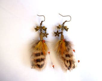 Colorful earrings - feather jewelry - women gift, birthday, mother's day - natural pheasant hunting - nature