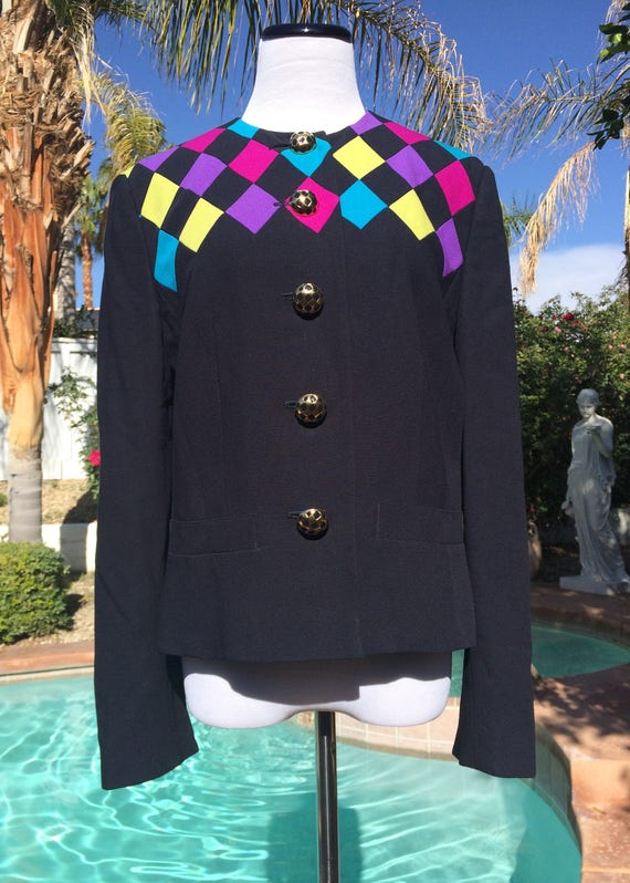 Louis Feraud 100% Wool Harlequin Jacket with Metal Buttons,Size 8,Made in Germany.