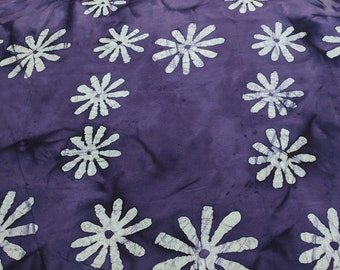 White Flowers on Purple Batik Cotton Fabric