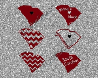 South Carolina SVG, eps, DXF, png Cut Files for Silhouette, Cricut, Vectors, Digital Download,Football, College, Gamecocks, State, Shapes