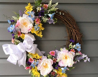 Spring Grapevine Wreath, Summer Wreath, Spring Wreath for Front Door, Spring Wreath, Rustic Wreath, Flower Wreath, Grapevine Wreath