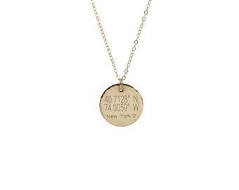Coordinates Disc Necklace / Hammered Edge Disks  / Personalized Disk in 14k Gold Filled, Sterling Silver or Rose Gold / Perfect Coin pendant