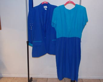 Vintage 1980's Blue Leslie Fay 3 piece plus size stretch dress and jacket with Belt suit