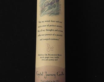 PEACE - Dark BLUE-GREEN Crystal Journey Soy Reiki Healing Herbal Pillar Candle