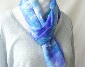 Blue , purple green silk scarf,hand dyed silk scarf, elegant silk scarf, long silk scarf,gift for her