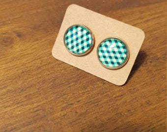 Checkered earrings, green, white and black