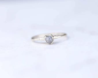 Raw Diamond Ring, Sterling Silver diamond engagement ring April Birthstone Ring, Diamond Stacking Ring, Handmade Wedding Gift, Promise Ring