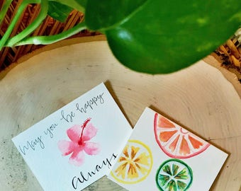 May You Be Happy Always/Citrus Fruit - Set of 2 mini cards