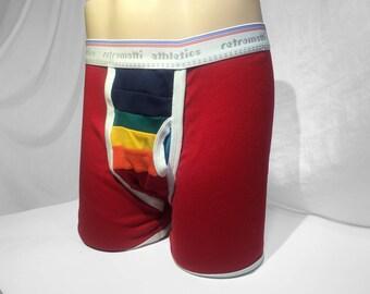 Retro rainbow boxers new jockey boxers 80s 70s boxer briefs mens trunk y fronts contrast piping vintage underwear boxer briefs gay underwear