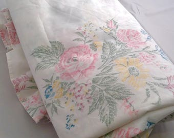 Vintage King Flat Sheet Cottage Chic