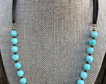 """Ocean Blue AMAZONITE 8mm Faceted Beaded Necklace on 1/8"""" Dark Leather Cord- GROUNDING & HEALING"""