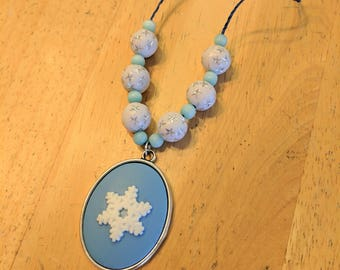 CLEARANCE, Blue Snowflake Necklace, Adjustable Hemp Necklace, Adjustable Snowflake Necklace, Holiday Necklace, Blue Hemp Necklace