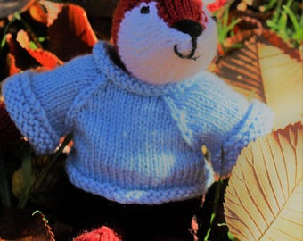 Mr Sly Fox...hand knitted soft toy