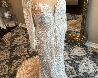 Unique Beaded Lace Wedding Dress With Skintone Fabric Underneath Fitted Sexy
