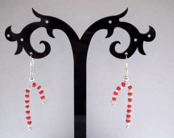 Christmas Candy Cane Glass Seed Bead Silver Plated Fish Hook Festive Earrings - Xmas Gift