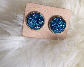 12mm Druzy stud earrings, earrings, studs, gifts for her, bridal