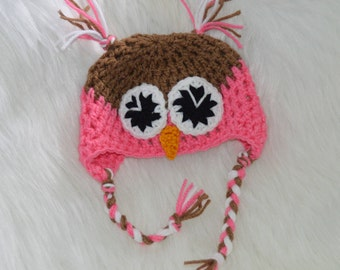 Crochet Owl Hat/Newborn/Baby/Pink/Brown/White/Photo Prop/Gift/Costume/Ready to Ship!