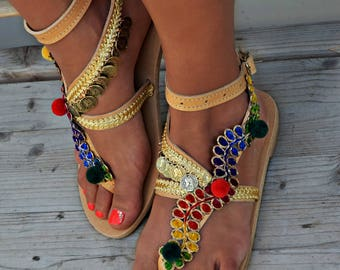 """Sandals """"Gold Beauty"""" Greek Leather Sandals, Indian Sandals, Gypsy Sandals, Luxurious Sandals, Greek  Artisanal Sandals,  Made to Order"""