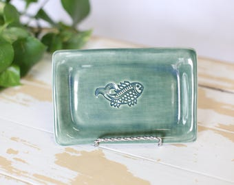 Green Pottery Fish Tray/Handmade Trinket Dish/Beachy Decor Tray/Green Jewelry Tray/Beachy Small Dish/Green Pottery Tray/Small Pottery Dish